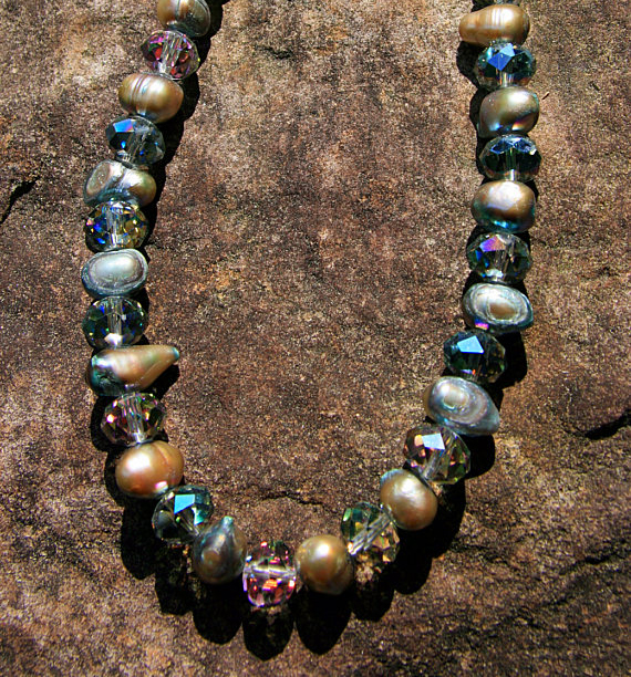 Crystal And Cultured Pearl Beaded Necklace